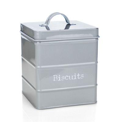 Harbour Housewares Kitchen Biscuit Tin in Vintage Metal - Grey