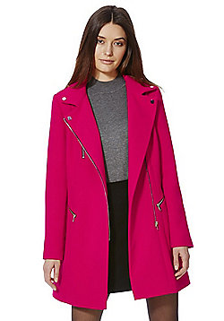 F&F Zip Detail Coat - Raspberry
