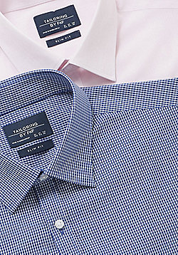 F&F 2 Pack of Easy Care Slim Fit Long Sleeve Shirts - Pink & Blue