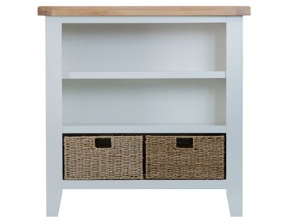 Manchester Painted Oak Small Bookcase with Baskets / Grey Bookshelf