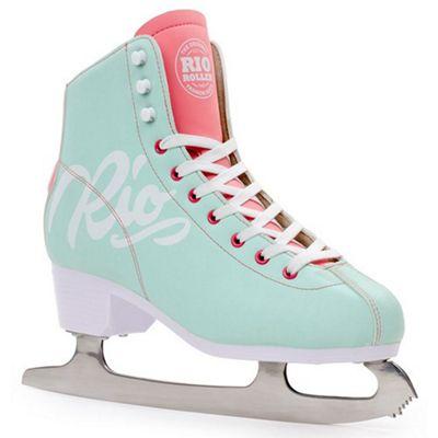 Rio Roller Script Ice Skates - Teal/Coral UK 3