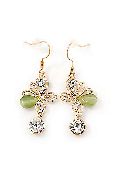 Clear Crystal, Light Green Cat Eye Stone Butterfly Drop Earrings In Gold Plating - 50mm Length