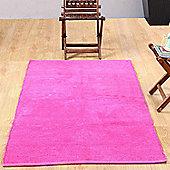 Homescapes Chenille Plain Cotton Medium Size Rug Pink, 60 x 100 cm