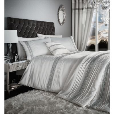 Catherine Lansfield Glamourous Diamante Bands Pearl Duvet Cover Set - Super King