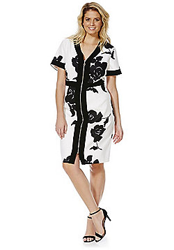 Lovedrobe Floral Zip Front Pencil Dress - White