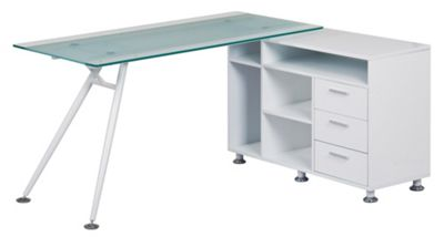 Alphason Augusta Frosted Glass Corner Desk