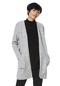 F&F Collarless Boucle Long Line Jacket - Oatmeal