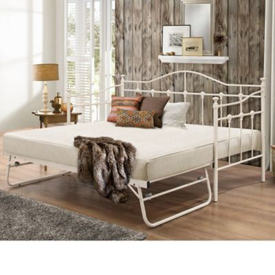 Happy Beds Torino Metal Day Bed and Underbed Trundle Guest Bed with 2 Open Coil Spring Mattresses - Cream - 3ft Single