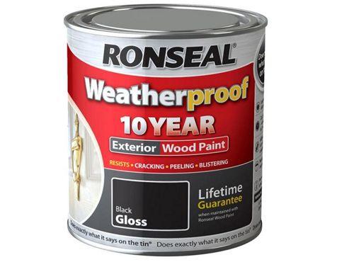 Ronseal RSLWPBLK750 750ml Weatherproof 10 Year Exterior Wood Paint Gloss - Black