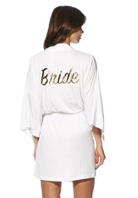 F&F Bride Foil Slogan Jersey Robe White M