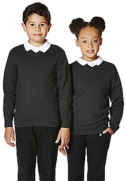F&F School Unisex V-Neck Jumper with As New Technology - Grey
