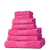 Dreamscene Luxury Egyptian Cotton Towel Bale 9 Piece Set - Fuchsia