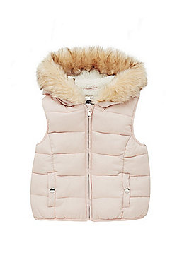 F&F Padded Faux Fur Trim Hooded Gilet - Pale pink