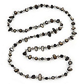 Long Black Shell Nugget and Transparent Glass Crystal Bead Necklace - 110cm L