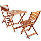 VonHaus Wooden Table and 2 Chair Garden Patio Furniture Set - 70 x 70cm