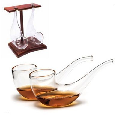 Brandy Pipe Sipping Glasses Set With Wooden Display Stand 75ml - Pack of 2