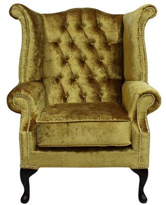 Chesterfield Queen Anne High Back Wing Chair Boutique Gold Velvet