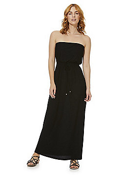 F&F Elasticated Waist Strapless Maxi Dress - Black