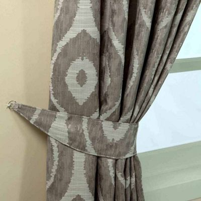Homescapes Grey Jacquard Curtain Tie Back Pair Abstract Ikat Design