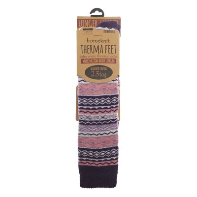 Homeknit Ladies Wellington Boot Socks, Purple