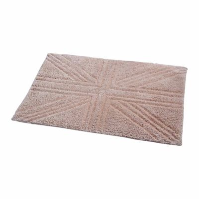 Homescapes Cotton Tufted Rug Union Jack Plain Embossed Mat Mink Beige,50 x 80 cm