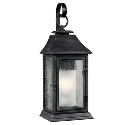 Dark Weathered Zinc Large Wall Lantern - 1 x 75W E27