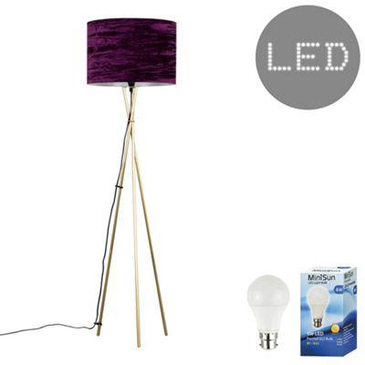 Camden Tripod LED Floor Lamp - Gold & Black Velvet