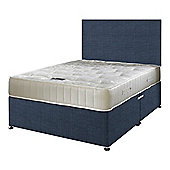 Happy Beds Ortho Royale Mattress Divan Bed Set Plain Headboard Midnight Blue
