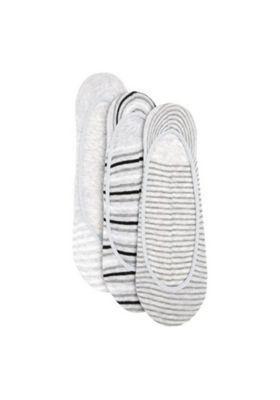 F&F 3 Pair Pack of Striped Footsie Socks Grey S-M
