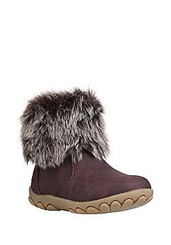 F&F Faux Fur Trim Ankle Boots - Brown
