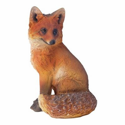 Realistic 30cm Sitting Fox Animal Garden Ornament