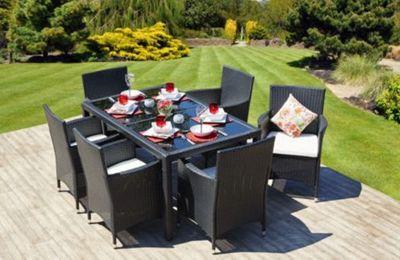 Ronda Rectangle Rattan Garden Dining Set & 6 Chairs Black