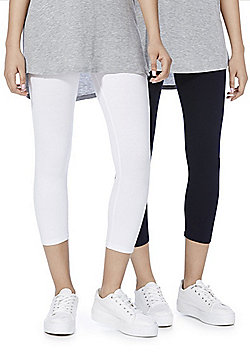 F&F 2 Pack of Cropped Leggings - White & Navy