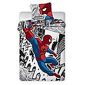 Spiderman Comic Single Cotton Duvet Cover and Pillowcase Set