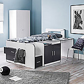 Happy Beds Cookie Single White and Grey Wooden Cabin Bed Memory Foam Mattress