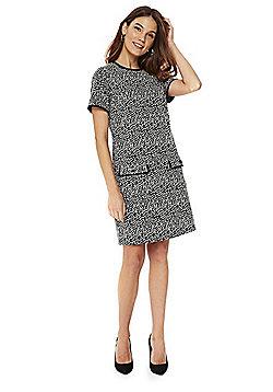 Wallis Monochrome Jacquard Pocket Detail Shift Dress - Black & White