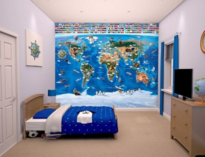 Buy walltastic map of the world wall mural 8 ft x 10 ft from our walltastic map of the world wall mural 8 ft x 10 ft buy from tesco gumiabroncs Choice Image