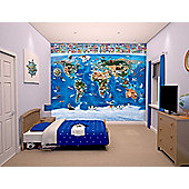 Walltastic Map Of The World Wall Mural 8 ft x 10 ft