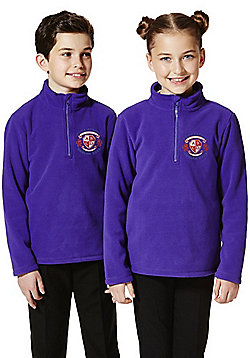 Unisex Embroidered Half Zip School Fleece - Purple