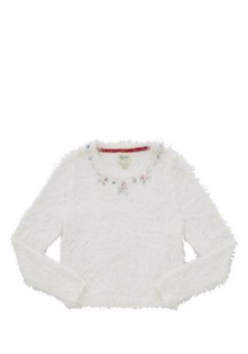 Yumi Girl Jewelled Fluffy Knit Jumper 9-10 years Ivory