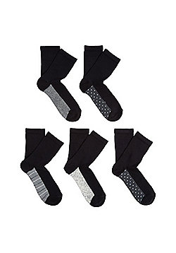 F&F 5 Pair Pack of Monochrome Sole Ankle Socks - Black