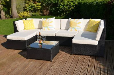 Barcelona Garden Rattan Corner Sofa Set with Table Black