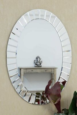 Large Modern All Mirror Oval Wall Mirror 2ft7 x 1ft10 80cm x 56cm