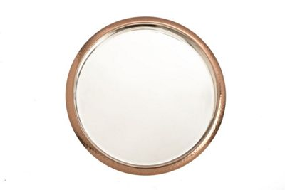 Epicurean 35cm Round Serving Tray, Copper and Stainless Steel
