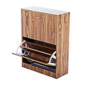 Homcom Wooden Shoe Storage Cabinet 2 Tier Drawers Footwear Stand Organiser (Oak)