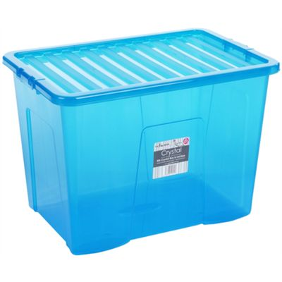 Wham 80L Crystal Box & Lid Tint Blue - Pack of 3