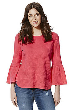 F&F Textured Crinkle Bell Sleeve Top - Pink