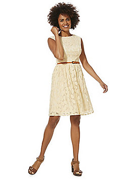 Solo Petal Lace Dress with Braided Belt - Stone