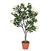 Homescapes White Potted Rose Tree Artificial Plant, 90 cm