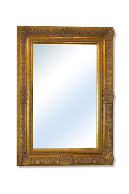Large Ornate Gold Antique Wall Mounted Mirror 3Ft4 X 2Ft6, 100Cm X 75Cm